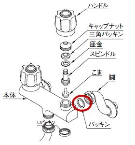 混合栓の偏心管からの水漏れ