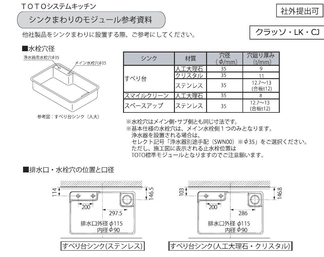 浄水器専用水栓取付穴推奨位置