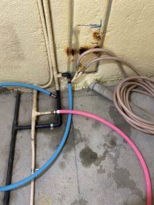 浴室給排水配管工事状況