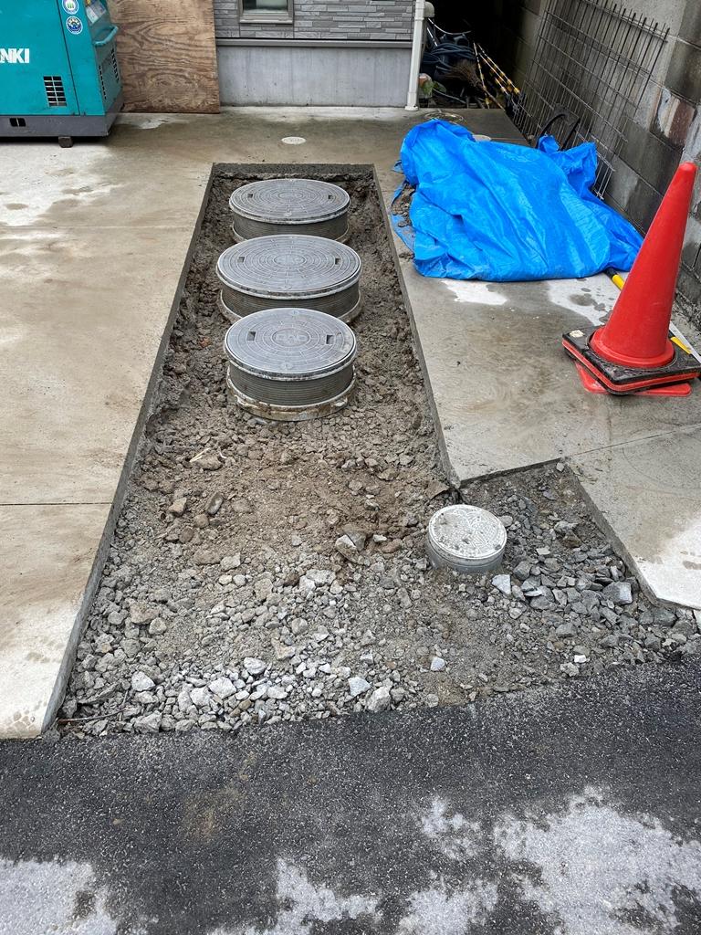 コンクリート切断及び斫り工事完了