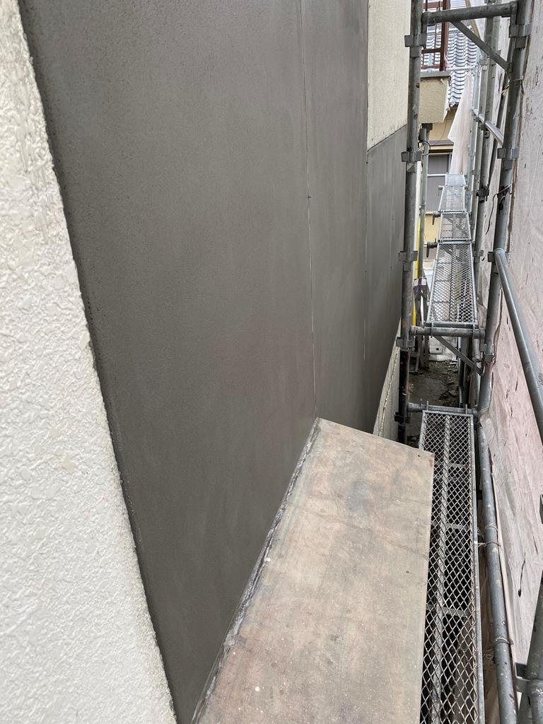 外壁モルタル塗り状況